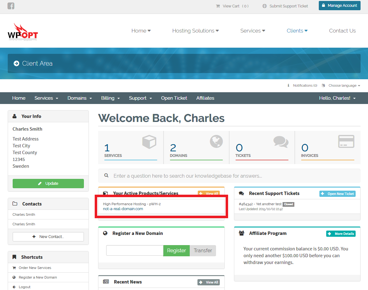 Accessing your hosting package details