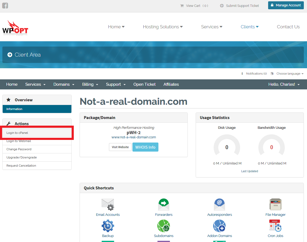 Performing a single sign-on to cPanel