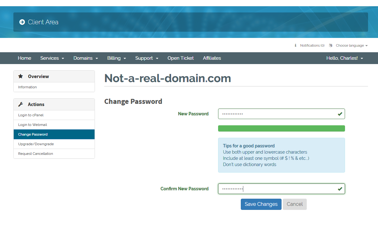 Setting the new cPanel password